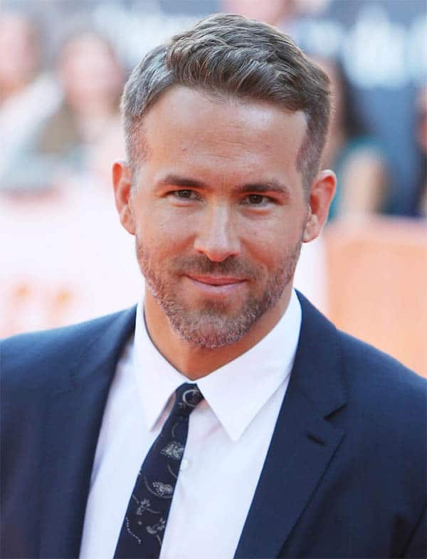Wavy Top With Buzzed Sides - Ryan Reynolds Best Haircuts