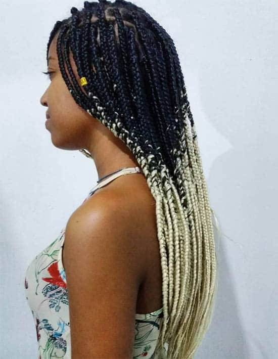 White Ends Box Braids For Black Women