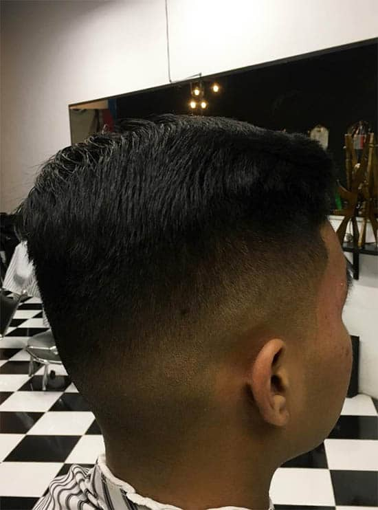 High Fade Long Side-Slicked
