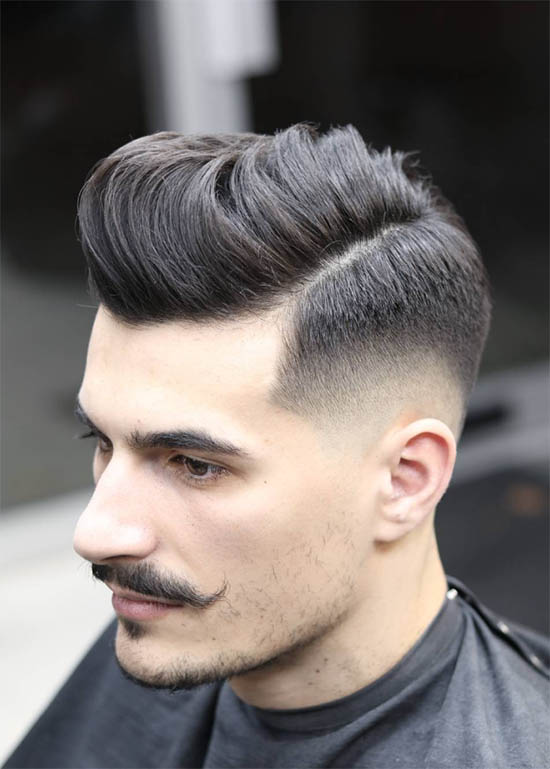 High Pompadour + Low Taper + Hipster Beard