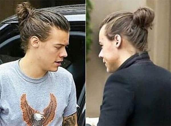 Large messy Bun - Harry Styles Haircuts