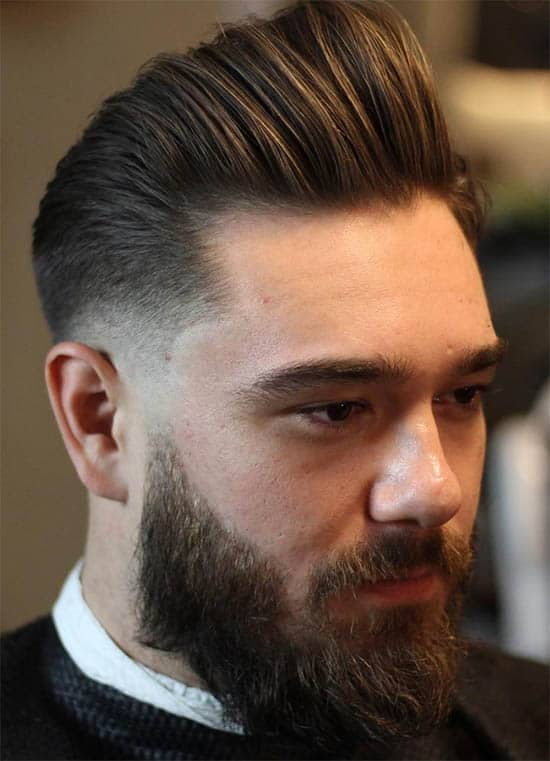 Long Pompadour + Fade + Full Beard