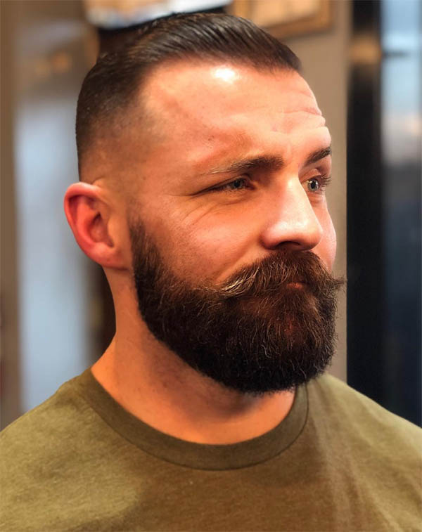 Medium Fade with Beard -Best Crew Cut Hairstyles