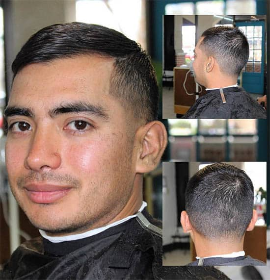 Slicked Back Pompadour Buzz Haircuts For Men