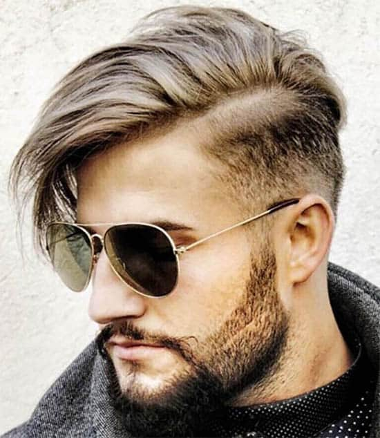 Mid Fade, Side Part with Long Fringe