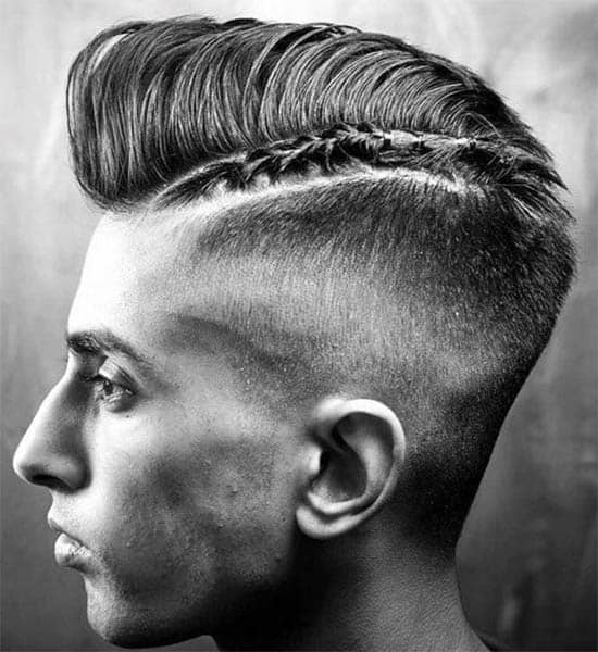 Pompadour With Braided Razor Part